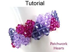 Patchwork Crystal Heart Bracelet Beading Pattern Tutorial