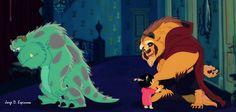 monsters inc.sorry kitty :( , Disney beauty and the beast, sketch by Jorge D. Disney Fan Art, Disney Pixar, Twisted Disney, Disney Crossovers, Art Thou, Disney Beauty And The Beast, Funny Art, Movies Showing, Fairy Tales