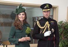 William, Duchess of Cambridge and Catherine, Duchess of Cambridge visit the 1st Battalion Irish Guards during the St Patrick's Day parade at Mons Barracks on March 17, 2014 in Aldershot, England.