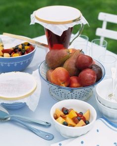 Turn away picnic-table pests with inexpensive sewing supplies: embroidery hoops and muslin. Buy hoops that are slightly larger than the rims of your pitchers and serving bowls. With pinking shears, cut cloth squares two to three inches wider than each hoop. Position a piece of fabric in each hoop to create handy covers.