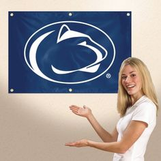 Penn State Nittany Lions Applique Embroidered Fan Wall Banner 3ft X 2ft