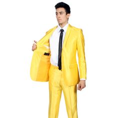 b860f37c8 Ferrecci Mens Slim Fit Shiny Yellow Sharkskin Suit | Overstock.com Shopping  - The Best
