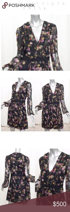 "❤️Giambattista Valli Silk Floral Dress NWT. Stunning designer floral v-neck dress with sheer sleeves. Content: Silk Lined: Yes Made In: Italy Size: 46 | US 10, L   Bust: 20"" Waist: 15"" Hips: 22"" Sleeve: 25"" Shoulder to Shoulder: 17.5"" Length: 35.5"" Giambattista Valli Dresses"