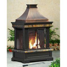 Sunjoy Brownston Steel Wood Outdoor Fireplace - 'Portable'