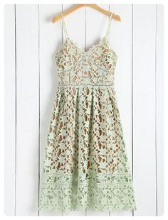 98b879df84d Cami Scalloped Cut Out Midi Dress (Green) Cami Midi Dress