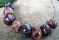 Glass Lampwork Bead Chunky Set of 8 Purple by InspireGlassStudio