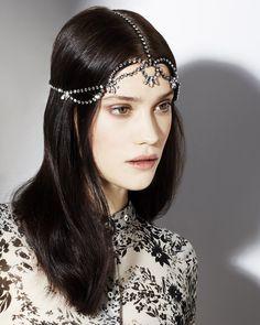 Jennifer Behr Delphinius Diadem :: Swarovski crystal headpiece handmade in New York City