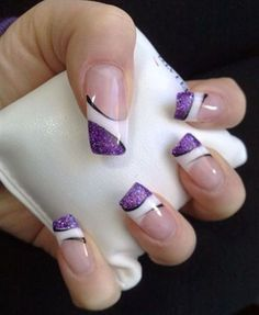 21 Cute And Trendy Nail Designs for Summer   Inspired Snaps. Good design to use for my nails for our daughter's wedding next month. Her colors are Purple , white and silver. The big day is June14,2014!!!