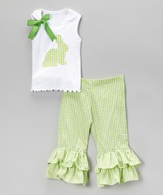 Loving this Green Bunny Tank & Ruffle Pants - Infant, Toddler & Girls on #zulily! #zulilyfinds