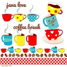 coffee digital clip art .png java love coffee by LaurelingStudios, $2.99