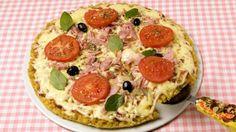 #Receita de #Pizza: muçarela com presunto e massa de macarrão