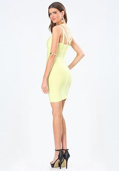 bebe Strappy Yoke Bandage Dress