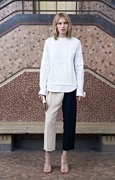 Cotton and denim plastron top Crêpe sable trousers with crossover opening