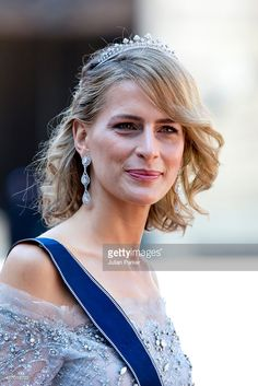 Princess Tatiana of Greece, arrives at The Royal Chapel, at The Royal Palace in Stockholm for The Wedding of Prince Carl Philip of Sweden and Sofia Hellqvist on June 2015 in Stockholm, Sweden. (Photo by Julian Parker/UK Press via Getty Images) Royal Crowns, Royal Tiaras, Royal Jewels, Princesa Real, Princesa Diana, Prinz Carl Philip, Greek Royalty, Swedish Wedding, Greek Royal Family