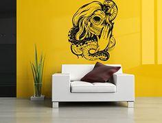 Wall Vinyl Sticker Decals Mural Room Design Pattern Zombie Girl Tattoo Face Snake Skeleton bo625