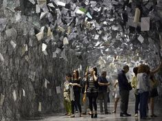 Chiharu Shiota 'Letters of thanks' Paper Installation, Artistic Installation, Labyrinths, Stage Design, Land Art, Les Oeuvres, Sculpture Art, Lounge, Japanese