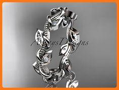 platinum diamond leaf and vine wedding ring, engagement ring, wedding band ADLR79 (*Partner Link)