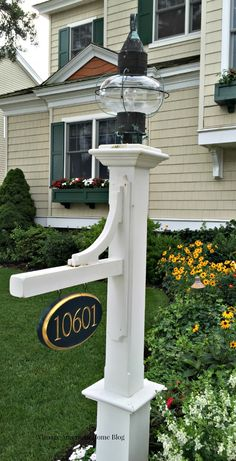Address signs for curb appeal.  30 ideas for curb appeal improvement, increase the value and beauty of your home.  Help you home sell.  Ideas fro Vintage American HOme.com