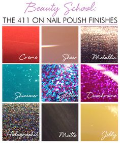 The nail polish aisle can be overwhelming, so we created this guide with everything you need to know about polish finishes.