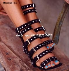 (113.28$)  Buy here  - Red Black Gladiator Sandals Women Open Toe Ankle Boots For Women Rivets Zapatos Mujer Striped Chunky Heels Ladies Shoes 2017