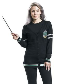 03f6d07174b0f Passion for Harry Potter · - ladies cardigan - fine knit - Slytherin logo  embroidered on the left chest - button