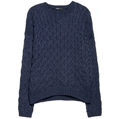 Mango Cable Knit Jumper, Navy ($23) ❤ liked on Polyvore featuring tops, sweaters, jumper, shirts, long-sleeve shirt, navy blue top, navy blue jumper, long sleeve tops and navy long sleeve shirt
