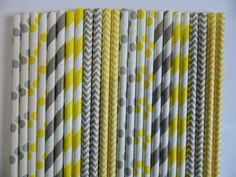 50 Mixed Light Grey and Yellow Striped, Chevron and Polka Dot Paper Straws- Baby Shower Decorations-Birthday Party, Cake Pops, Bridal Shower Baby Shower Favors, Baby Shower Cakes, Baby Shower Parties, Bridal Shower, Birthday Images, Baby Birthday, Birthday Nails, Birthday Crafts, Girls Party Decorations