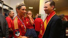Fernando #Torres & Prince #Felipe of Spain  Fernando Torres of Spain speaks to Prince Felipe of Spain in the dressing room following their UEFA EURO 2012 final against Italy