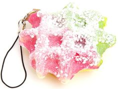 pink-green waffle squishy charm with icing sugar