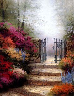 thomas kinkade_gardens_the garden of promise