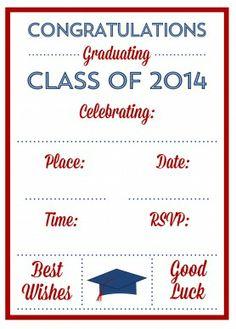 Free Printables for Graduation invitation | CatchMyParty.com