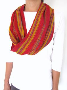 Circle scarf handwoven with a twist made in Chiapas, Mexico