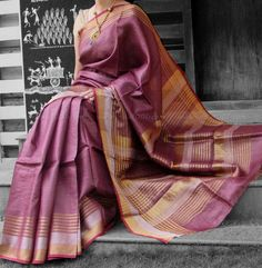 Elegant & Fine Tussar Silk Saree with Dual Tone Zari borders