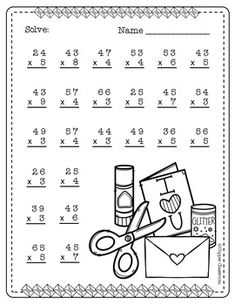 Need extra practice with multiplication? This set includes 10 pages of 2 digit by 1 digit multiplication with regrouping practice. An answer key for each page is included. Thanks for stopping by Copper Classroom. 4th Grade Multiplication Worksheets, Math Coloring Worksheets, 3rd Grade Math Worksheets, Math Workbook, 2nd Grade Math, Math Exercises, Math Drills, Math Pages, English Worksheets For Kids