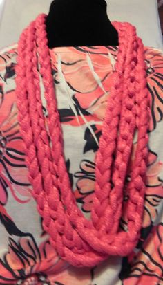 Spring/Summer Chunky Crochet Chain Scarf/Necklace in Shimmery Coral. $20.00, via Etsy.