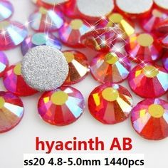 Non Hotfix Glass Rhinestones For Nails Art Decoration 1440pcs ss20 4.8-5.0mm Hyacinth AB Loose Crystal Stones DIY Jewelry Making