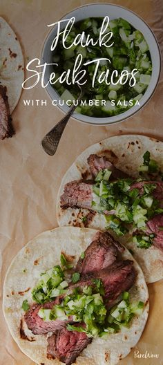 These flank steak tacos are about a million times more fun to eat, and they're topped with a cool, crunchy cucumber salsa. You win, tacos. You win.