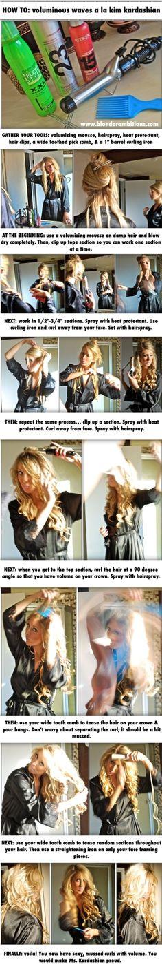 How To: Voluminous Waves. Hair. Waves. Kim Kardashian Hair. Beachy Hair. Summer Hair. by imvanne