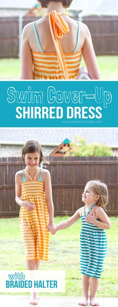 Swim Cover-Up: Shirred Dress with Braided Halter Ties | via Make It and Love It