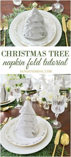 Christmas Tree Napkin Fold Tutorial - Sand and Sisal - - Try different types of napkin folding! Dress up your holiday tablesetting with this easy Christmas Tree Napkin Fold Tutorial. Christmas Tree Napkin Fold, Christmas Napkins, Diy Christmas Tree, Xmas, Nordic Christmas, Christmas Candles, Christmas Table Settings, Christmas Tablescapes, Christmas Decorations