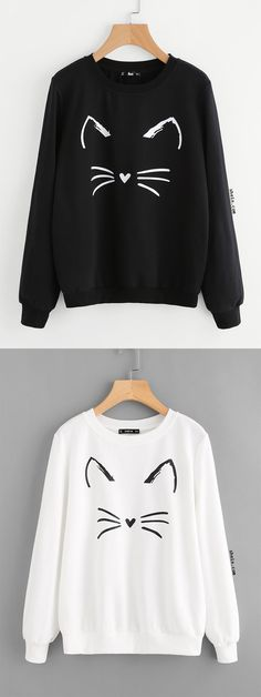 Cartoon Cat Print Sweatshirt Fall Outfits, Casual Outfits, Cute Outfits, Fashion Outfits, Fashion Ideas, Cute Jumpers, Dresses Short, Printed Sweatshirts, My Outfit