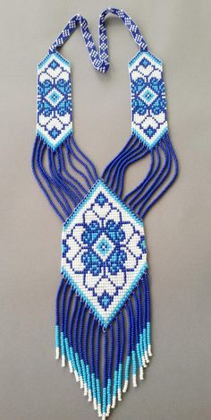 set blue jewelry set 2 pieces necklace and earrings, native american style ethnic jewelry, necklace seed bead, Long necklace Bead Jewellery, Ethnic Jewelry, Beaded Jewelry, Statement Necklaces, Bead Loom Patterns, Beading Patterns, Necklace For Girlfriend, Daughter Necklace, Beaded Bracelets