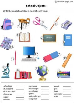 School Objects Matching worksheets
