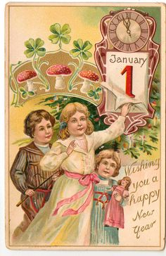 Vintage New Year Postcard, ca. 1910s
