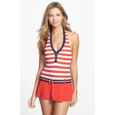 Tommy Hilfiger Stripe Belted Halter Swimdress Tomato/ Core Navy 14 - product - Product Review