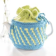 Free Knitting Pattern for Tea Time Cozy - Diagonal striped teapot cozy in two colors. Finished Measurements: x x to fit teapot high and circumference. Designed by Premier Yarns Design Team. Tea Cosy Knitting Pattern, Tea Cosy Pattern, Knitting Patterns Free, Free Knitting, Finger Knitting, Scarf Patterns, Design Patterns, Crochet Patterns, Crochet Geek