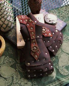 Steampunk Leather Gauntlets Wrist Guards by JoannaCorrinCoutures, $40.00