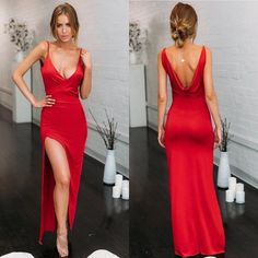 """""""If you want a fabulous, sexy look for your party this high slit wrap bodycon dress is the answer."""" #highslitwrapbodycondress #bodyconmaxidress Prom Dresses Under 100, Classy Prom Dresses, Prom Girl Dresses, Open Back Prom Dresses, A Line Prom Dresses, Cheap Prom Dresses, Mermaid Dresses, Special Dresses, Open Dress"""