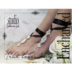 Barefoot Sandal, beach wedding, princess, rhinestones, ENCHANTED BRIDE... via Polyvore