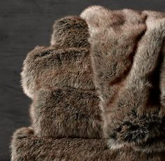 Coyote- Red Tones- Faux Fur Throw | RH